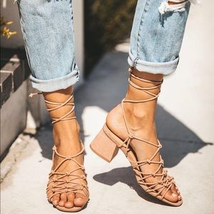 New Nude Strappy Lace Up Sandal